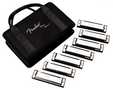 More details for fender® blues deluxe harmonicas 7-pack with case sampler set: c g a d f e bb