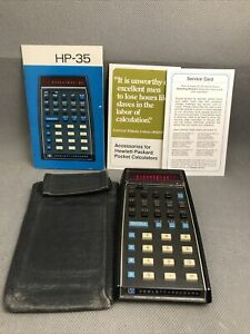 HP-35 Scientific Calculator, Version 3, With Case and Manual