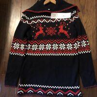 V28 Women's Ugly Christmas Reindeer Snowflake Fair Isle Blue Sweater Medium NWT