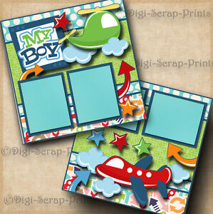 MY BOY ~ 2 premade scrapbooking pages paper piecing layout baby DIGISCRAP A0110