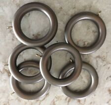 Silver Gray Grey WOOD RINGS for curtains - LOT of 6 rings - R151