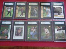 10 Card Graded HOF Golf Lot Tiger Woods, Jack Nicklaus, Arnold Palmer +++