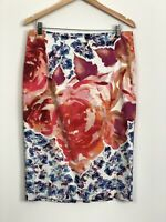 PORTMANS Womens Pink Blue Floral Stretch High Rise Zipper Pencil Skirt Size 14