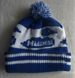 Vintage MIDWEST ELECTRIC PRODUCTS Hat*Pom*Winter*duck bluewhite RARE advertising