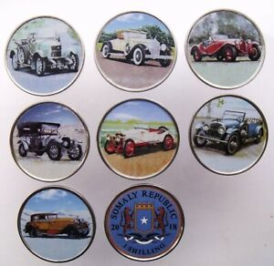 SOMALIA SET OF 7 DIFFERENT 1 SHILLING 2018 COINS OLD CLASSIC CARS - COLOR UNC