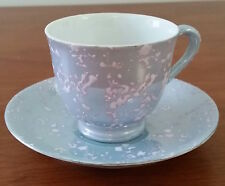SUPERIOR JAPAN Bone China SILVER BLUE WHITE Coffee CUP SAUCER Demitasse Set
