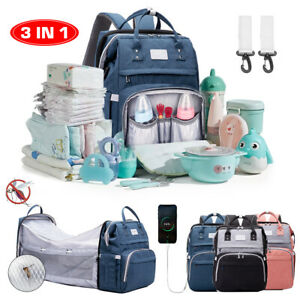 3IN1 Baby Diaper Bag With Baby Bed Crib Foldable Mummy Backpack Stroller HandBag