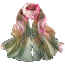 Women Silk Like Floral Scarfs Scarves Bikini Cover-up Beach Towel Shawl