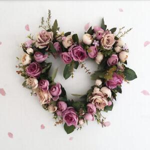 Home Decor Heart Door Wreath Artificial Rose Flower Garland Wall Ornament,Purple