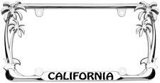 California Palm Tree Design Chrome/Black Metal Auto License Plate Frame
