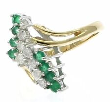 Vintage Emerald and Diamond Cluster Ring in 14k Yellow Gold