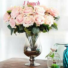 10Head Artificial Silk French Rose Bouquet Fake Flower Wedding Party Home Decor~