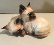 VINTAGE BESWICK MADE IN ENGLAND 2 SIAMESE KITTENS CATS FIGURINE #1296