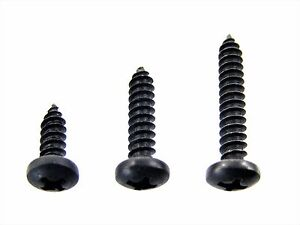 """Honda Black #8 Pan Head Trim Screws- 1/2"""" to 1"""" Long- 75 screws (25ea)- #334"""
