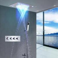 "23/""x31/"" Rectangle Ceiling LED Rain Shower Waterfall Rainfall Curtain Matt Black"