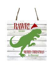 Rawr Means Merry Christmas in Dinosaur Printed Handmade Wood Christmas Ornament
