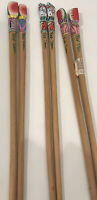 """Three Pair Vintage Hand Painted & Hand Carved Chop Sticks 10"""" Dominican Republic"""