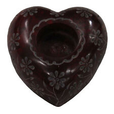 """4"""" Black Marble Candle Holder Heart Shape Aroma Lamp Handcarving Arts Gifts H556"""