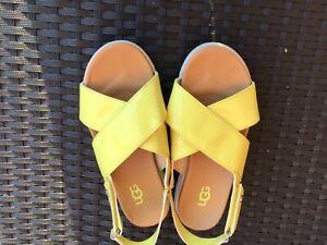 Girls UGG yellow sandals size 2