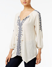 Style & Co Women's Embroidered Bishop-Sleeve Peasant Top Blouse Boho Ivory P/S