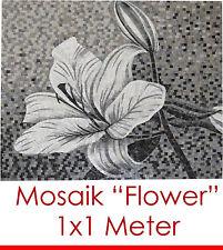 "Elegante still pieno mosaico mosaico immagine ""FLOWER"" 100x100 cm 1 m² 11.000 STRASS"