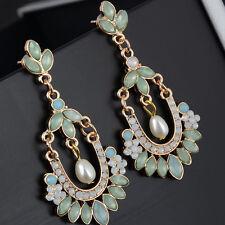 Alloy Dangle Ear Studs Jewelry Earrings 1 Pair Women Pearl Crystal Rhinestone