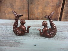 Set of 2 Brass Metal MERMAID KNOBS Drawer Pull ~ Nautical Decor Beach