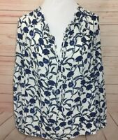 Rose Olive Womens Medium White Blue Floral Printed Top
