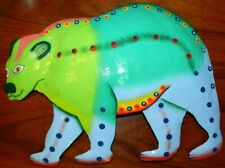 "Bear Metal Wall Art Colorful Whimsical Greens Blue 10x13"" New"