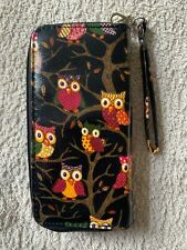 Owl purse wallet Black / Red / Yellow / Brown Double Zip Multiple Compartments
