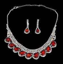 Parure Rouge Bijoux Fantaisie pour Mariage Soirée Fête