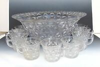Vintage Glassware Imperial Glass Punch Bowl Set 9 Cups Scallop Edge Triangles