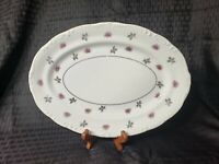 "Vintage Platter Rosette 12"" Fine China Japan Oval  Serving Dish Vtg Silver"