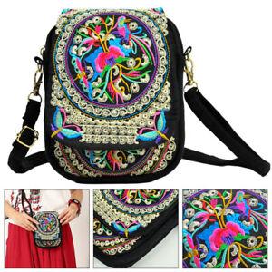 Women Crossbody Shoulder Bag Embroidery Handbag Mobile Phone Purse Pouch Case
