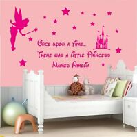 Wall art sticker quote for girls bedrooms Personalised Once upon a time Princess