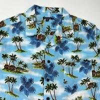 George Button Up Shirt Men's 2XL XXL Short Sleeve Palm Hut Blue Hawaiian