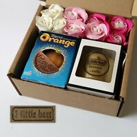 Gift set Beeswax candle White box Glass Soap flowers Chocolate Wedding Bath