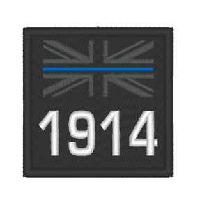 """EMBROIDERED THIN BLUE LINE PERSONALISED SMALL 2 1/2"""" SQUARE PATCH"""