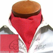 MEN'S Mini Stripes RED Free Style Casual Ascot Cravat & Hanky 2pcs Set