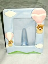 Baby Boy Picture Frame Photo Ceramic Blue Frame Teddy Bears Design Japan made