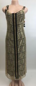 Alberta Ferretti Women Designer  Dress Gold Made In Italy Retail $2595 Size 6