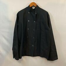 Fame Chef Unisex Black Long Sleeve Button Up Cooks Chefs Coat Jacket Size Large