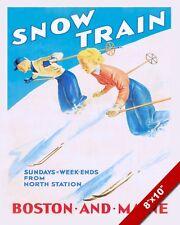 VINTAGE 1930'S BOSTON & MAINE SKI SKIING POSTER PAINTING ART REAL CANVAS PRINT