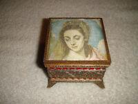 El Greco Metal Jewelry Or Trinket Box-La Vierge Marie-Ornate Etching-Fabric Top