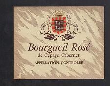 """ETIQUETTE ANCIENNE de VIN de CEPAGE CABERNET """"BOURGUEIL Rosé"""""""