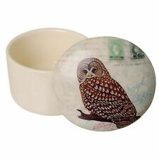 Owl, Ceramic Box  Brown Owl on Branch Round Trinket Box