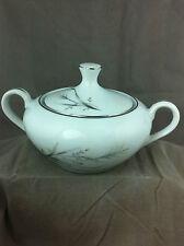 Castlecourt china sugar bowl wheat spray made in Japan white silver porcelain