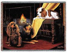 Throw Tapestry Afghan - Cavalier King Charles Spaniel Trio R. May 1148