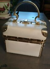 Vintage 50's/60's Delill Italy Ivory Purse Brass/Gold Hardware Train Trunk Bag