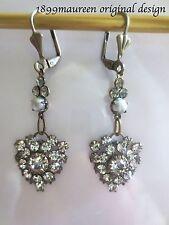 Edwardian earrings clear crystal pearl dainty vintage drop Art Nouveau Art Deco